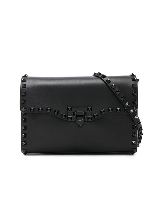 Medium Rockstud Shoulder Bag in Black & Black