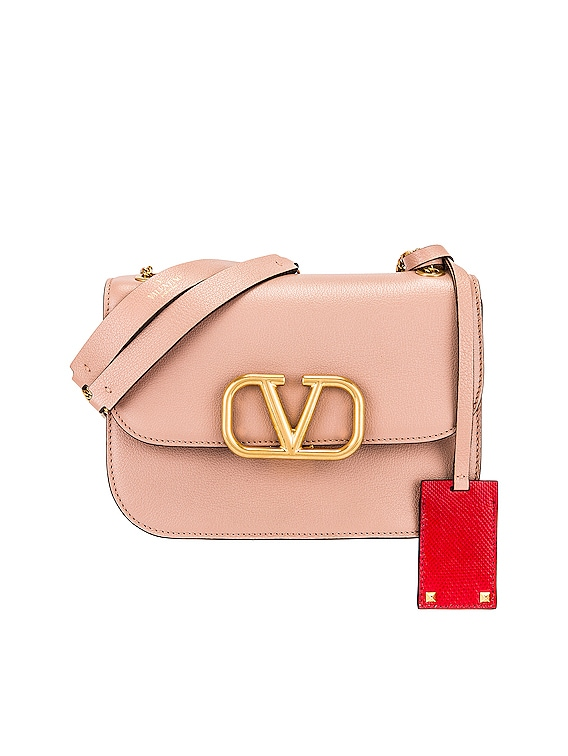 Small VLock Chain Shoulder Bag in Rose Cannelle & Red