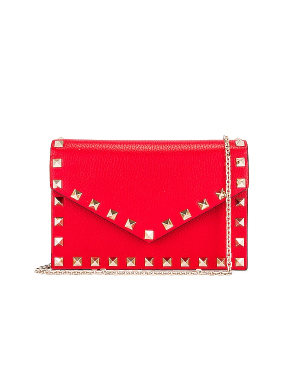 Rockstud Pouch in Red
