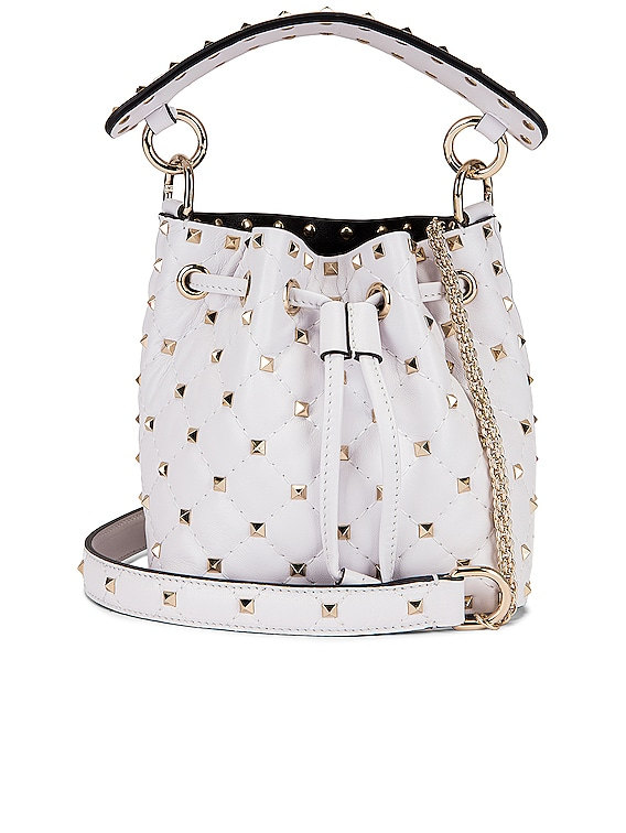 Mini Rockstud Spike Bucket Bag in Bianco Ottico