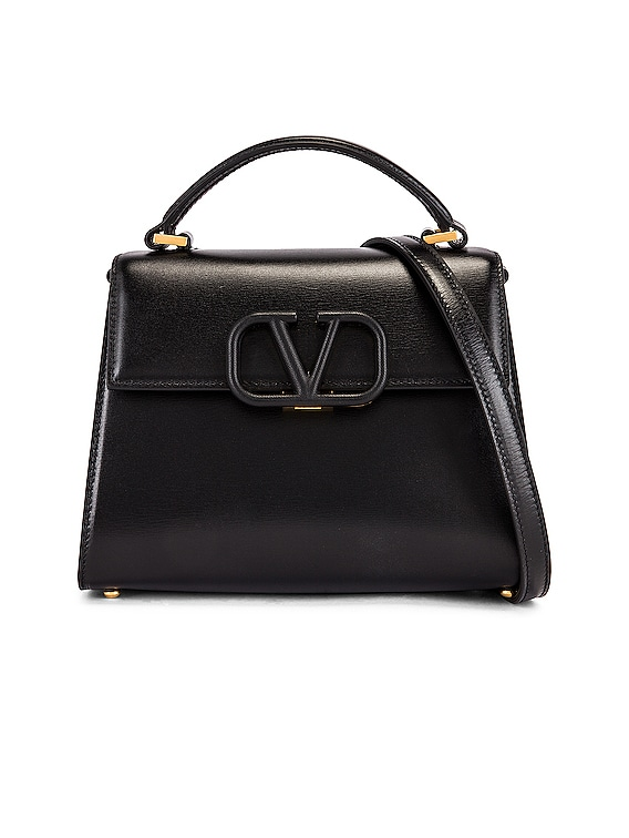 Small Vsling Top Handle Bag in Black