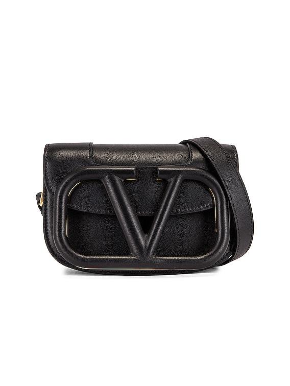 Small Supervee Shoulder Bag in Nero