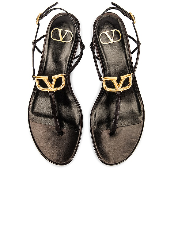 VLogo Thong Sandals in Black
