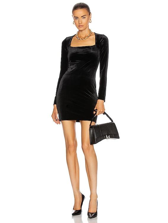 Square Neckline Styling Dress in Black