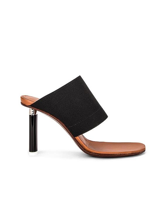 Toe Shape Lighter Heel Sandals in Black