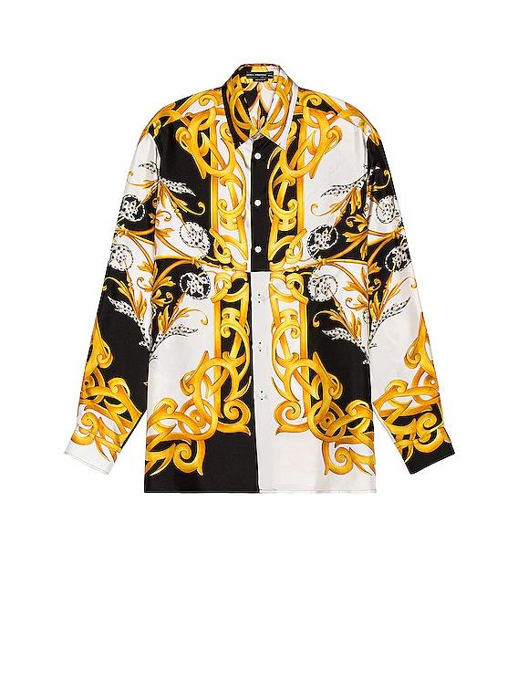 Long Sleeve Shirt in White & Black & Gold