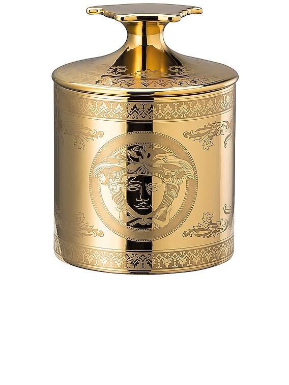Golden Medusa Votive with Lid & Fragrance in Gold