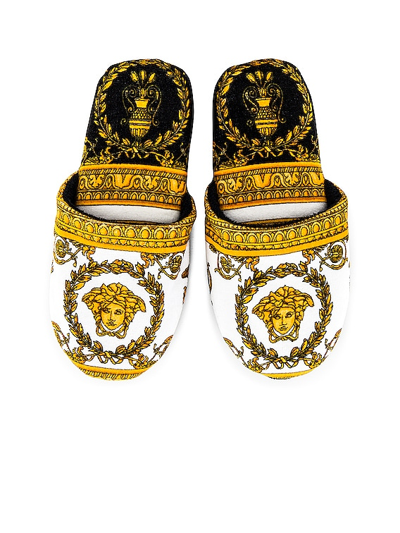 I Heart Baroque Slippers in White & Gold & Black