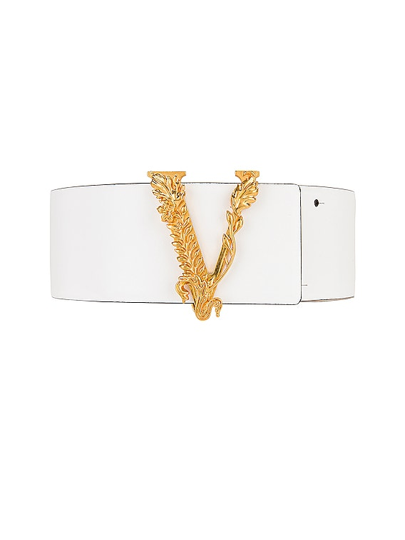 Thick Leather Belt in White & Gold
