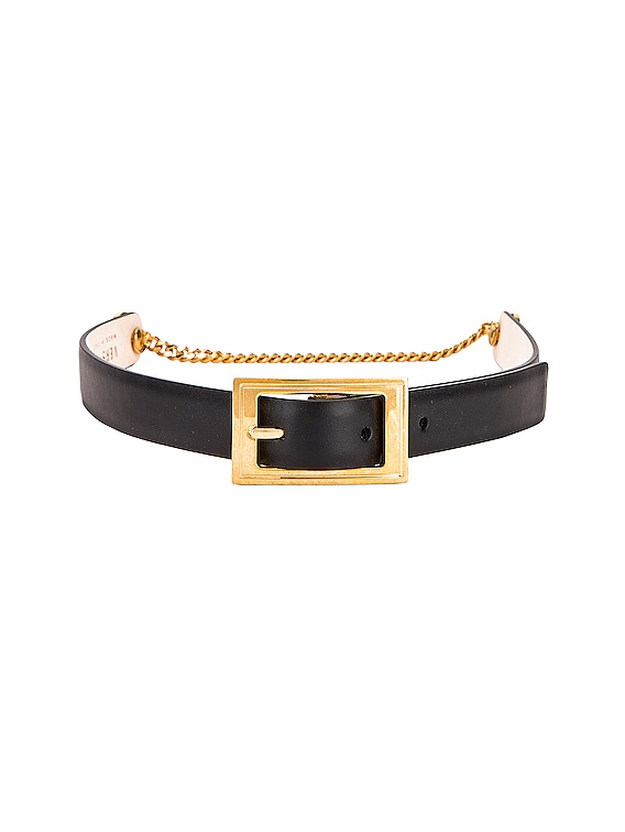 Leather Buckle Belt in Black & Gold