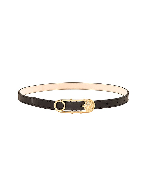 Skinny Leather Belt in Black & Gold