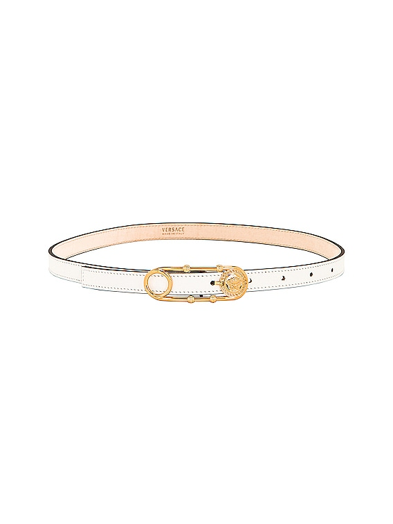 Skinny Leather Belt in White & Gold