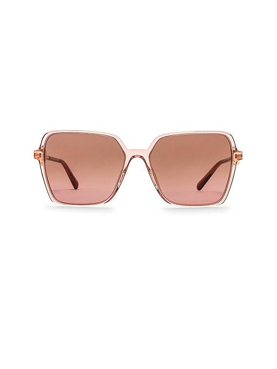 Enamel Medusa Square Sunglasses in Transparent Pink & Violet Gradient Brown