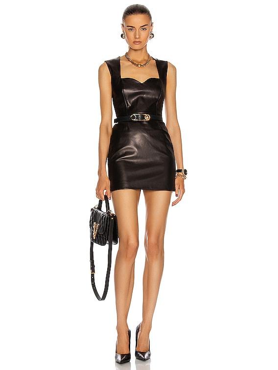 Leather Mini Dress in Black