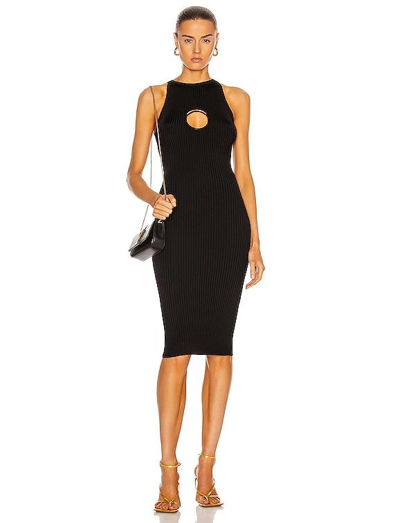 O Ring Sleeveless Dress in Nero