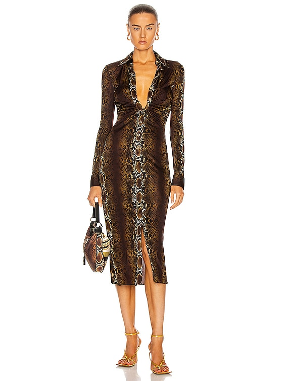 Long Sleeve Midi Dress in Naturale & Stampa