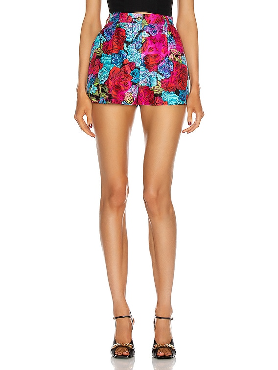 Floral Tailored Short in Red & Fuchsia