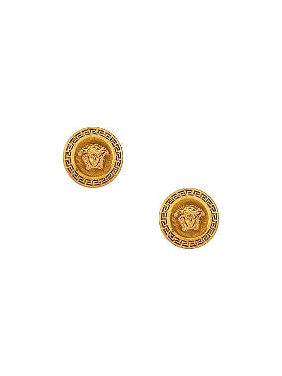 Medusa Coin Stud Earrings in Oro Tribute