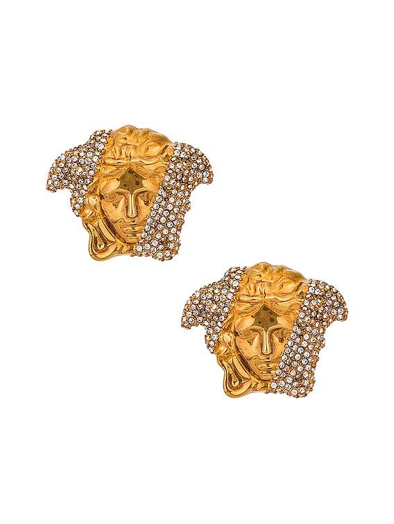 Medusa Stud Earrings in Crystal & Oro