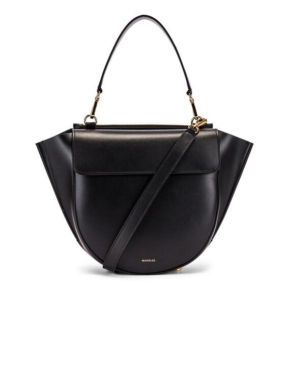 Medium Hortensia Leather Bag in Black