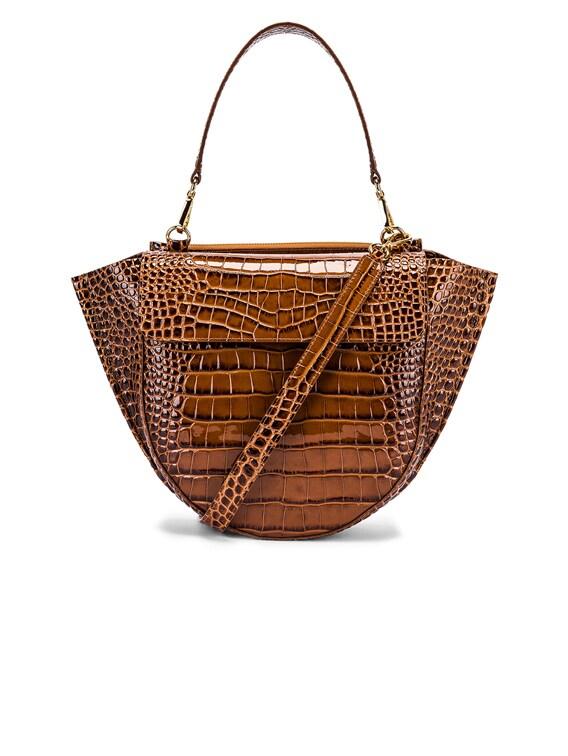 Medium Hortensia Leather Bag in Croco Toffee