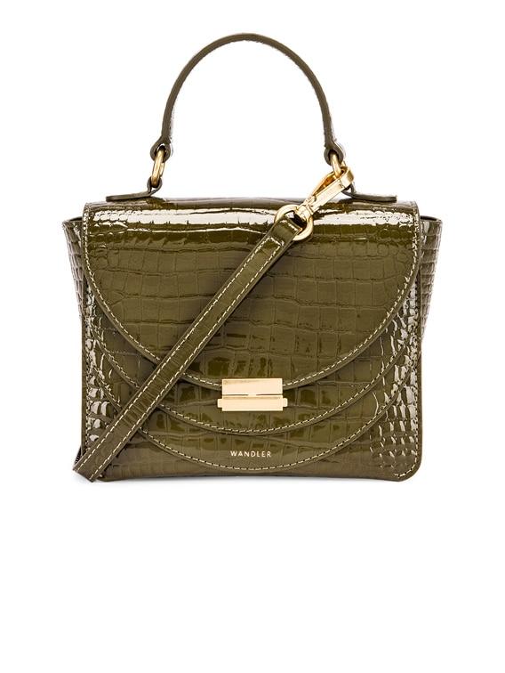 Mini Luna Leather Bag in Croco Olive