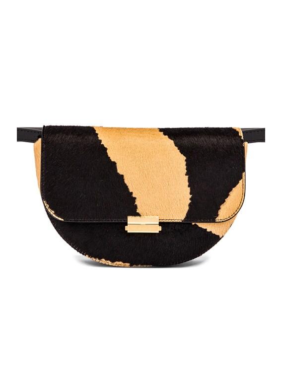 Big Anna Leather Belt Bag in Beige Zebra