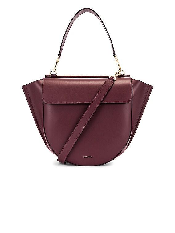 Medium Hortensia Leather Bag in Wine
