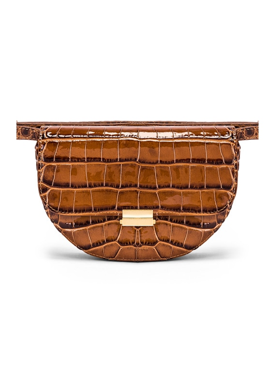 Big Anna Leather Belt Bag in Croco Toffee
