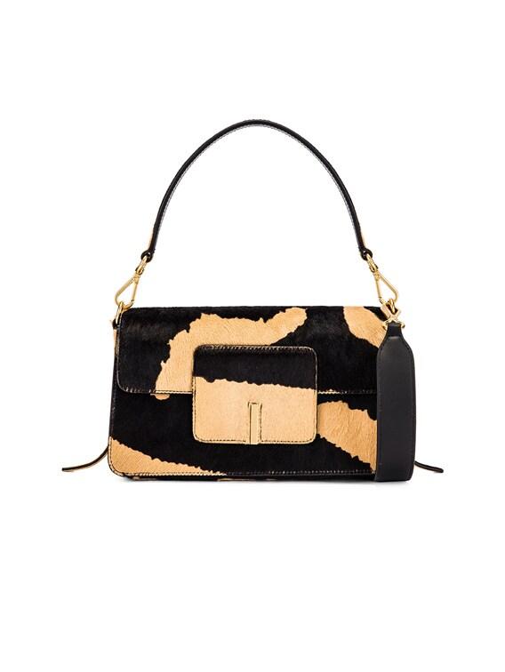Georgia Leather Bag in Beige Zebra