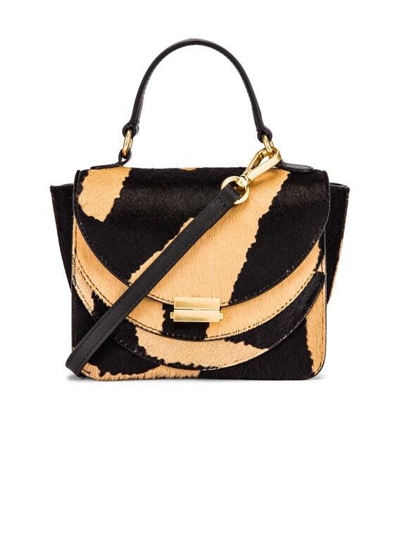 Mini Luna Leather Bag in Beige Zebra