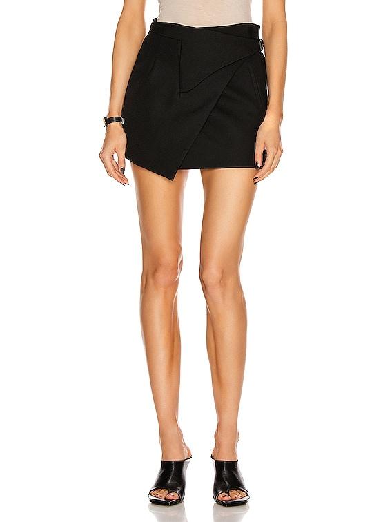 Wrap Mini Skirt in Black