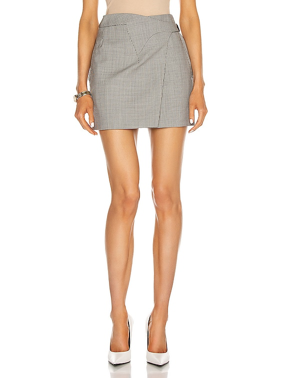 Wrap Mini Skirt in Houndstooth