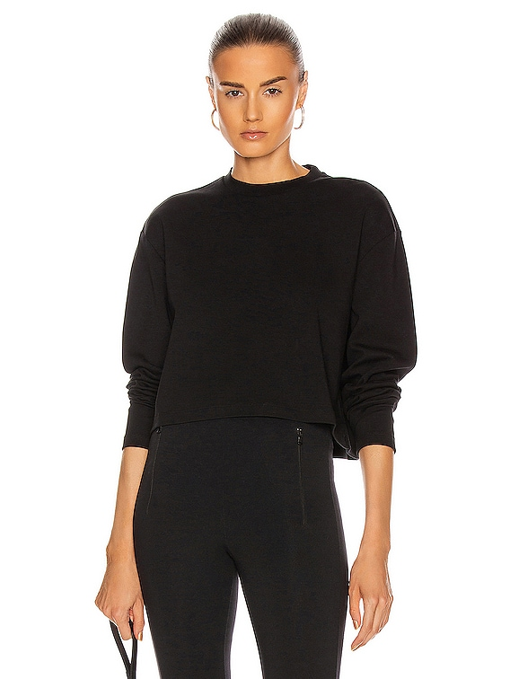 Long Sleeve Crop Top in Black