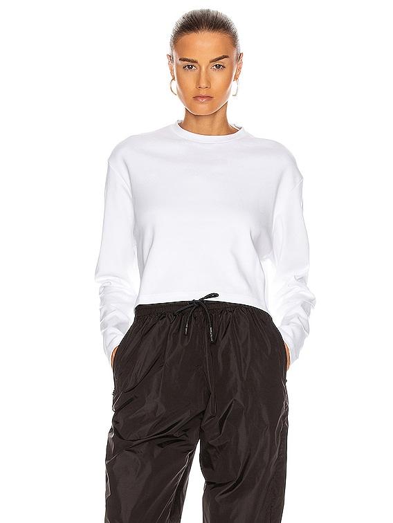 Long Sleeve Crop Top in White