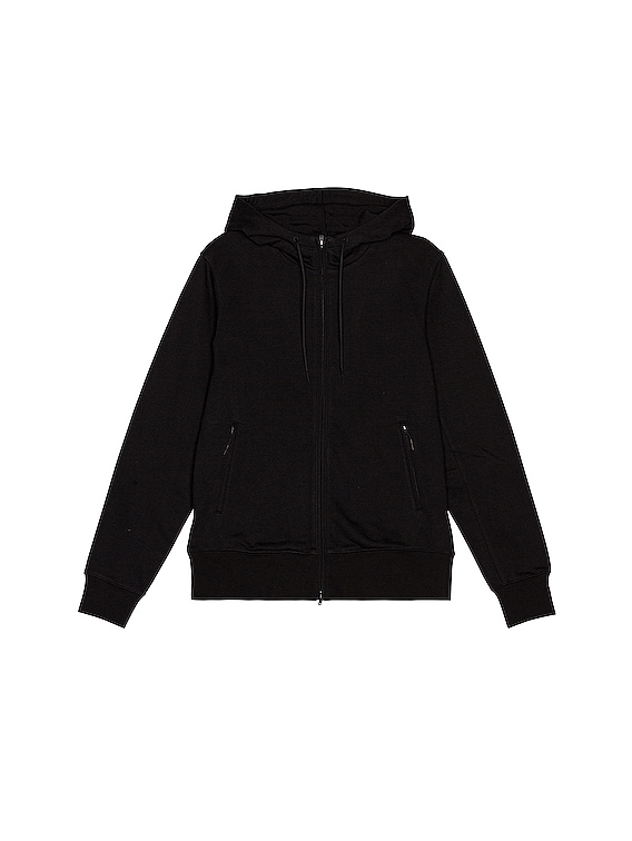 Back Logo Full Zip Hoodie in Black