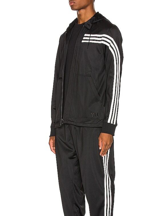 3 Stripe Hooded Track Top in Black & Ecru & Black
