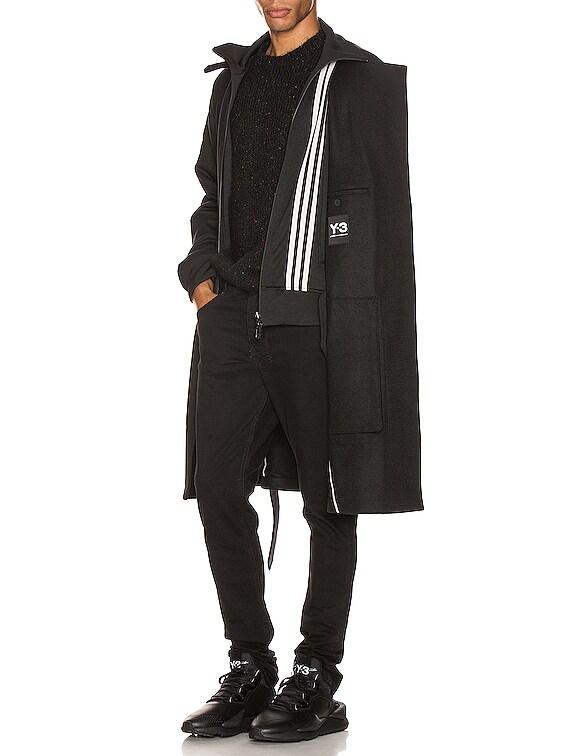 3 Stripe Reversible Layered Track Coat in Black & Black & Ecru
