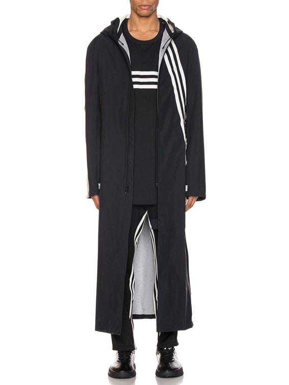 3 Stripe Gore-tex Infinium Hooded Coat in Black & Ecru
