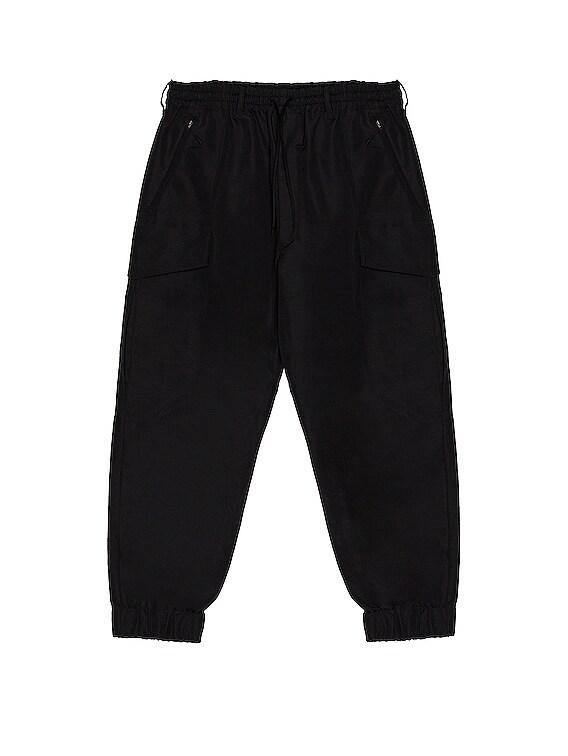 Winter Nylon Cargo Pants in Black