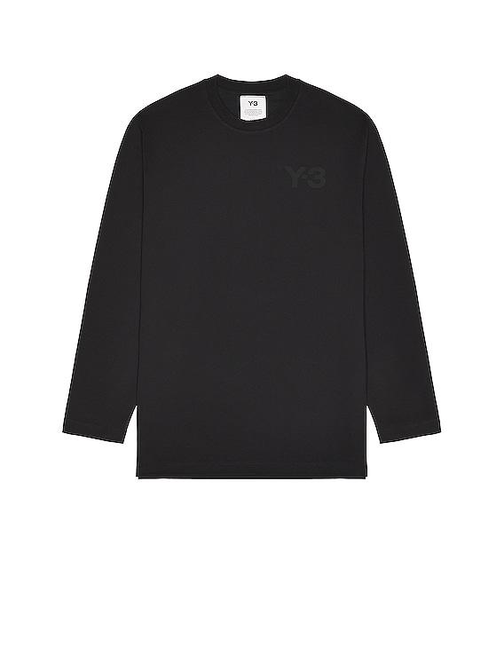 Chest Logo Long Sleeve Tee in Black