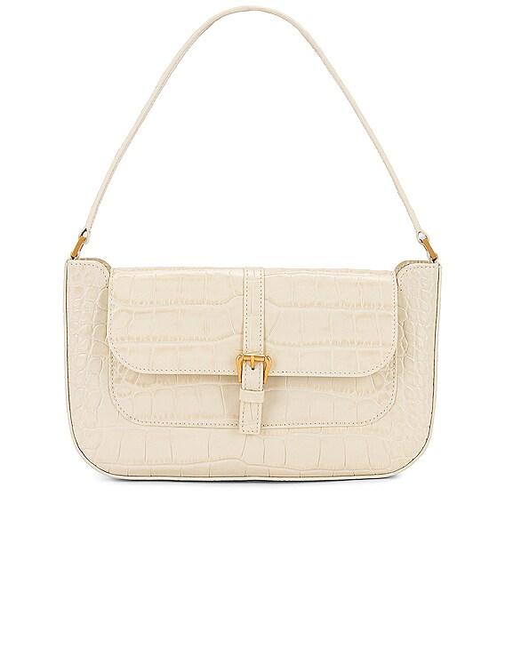 Miranda Croco Embossed Leather Shoulder Bag in Cream