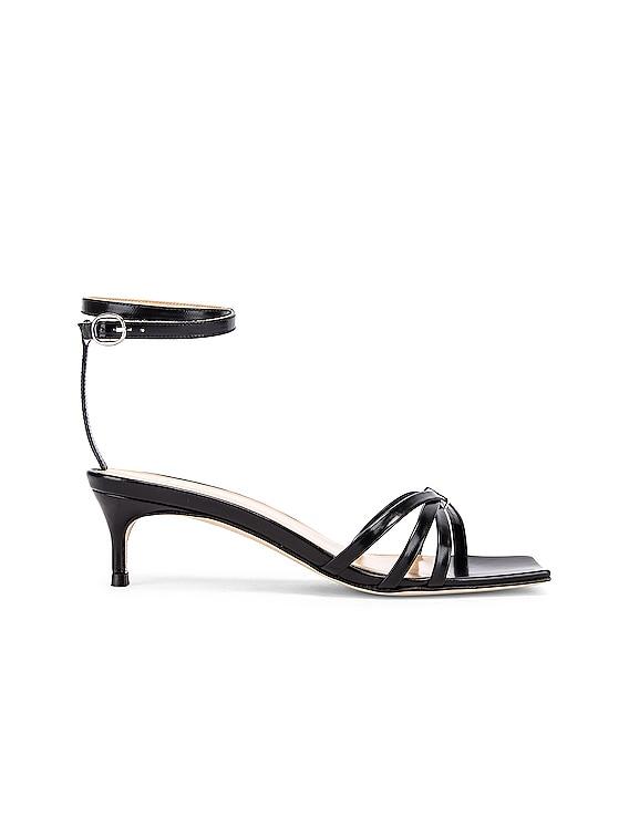 Kaia Semi Patent Leather Sandal in Black