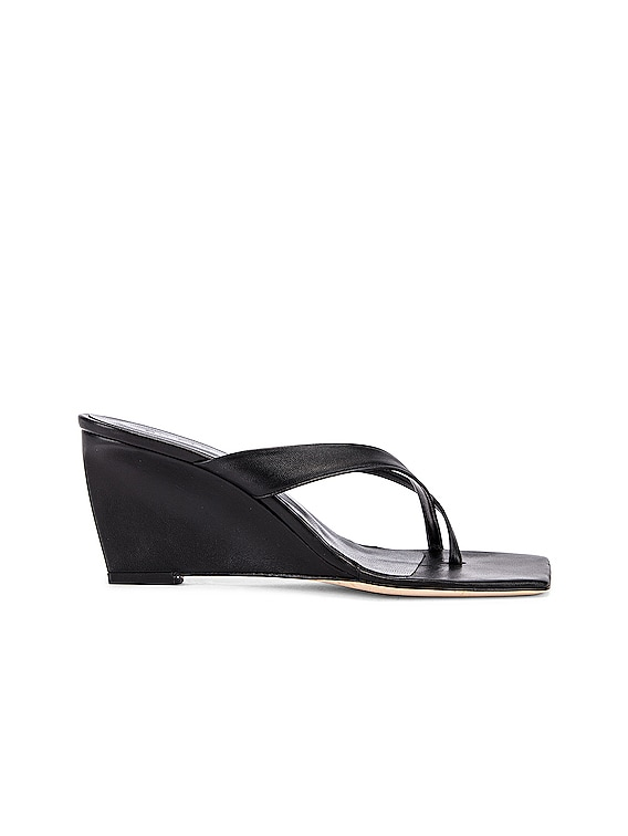 Theresa Leather Wedge in Black