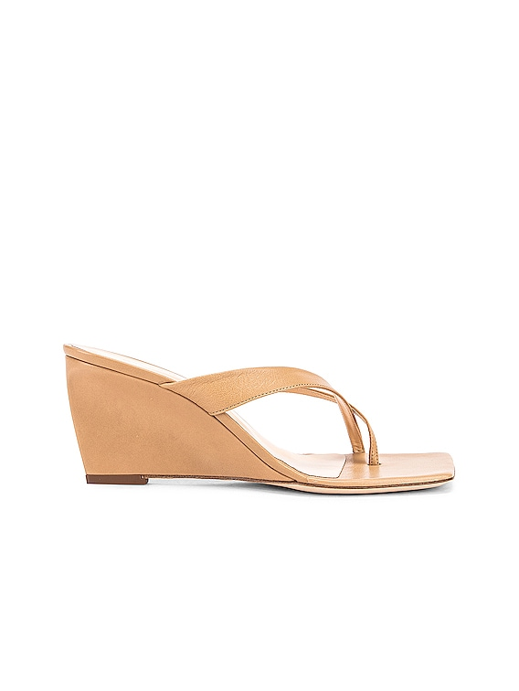 Theresa Leather Wedge in Nude