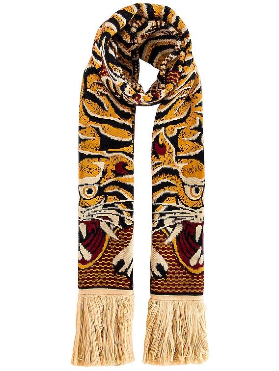End Fringe Tiger Scarf in Orange Print