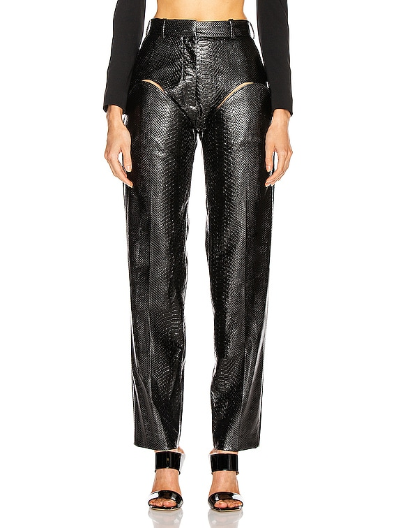 Cut Out Trousers in Black Faux Python