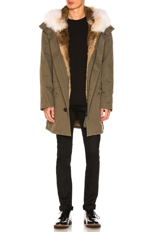 Cotton Parka with Rabbit and Coyote Fur in Hunter Green & Oil
