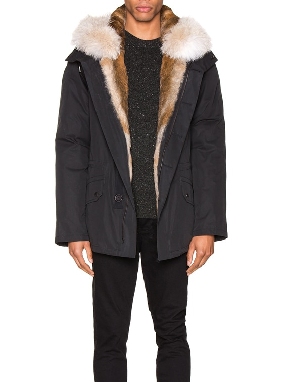 Parka with Rabbit and Coyote Fur in Noir & Naturel