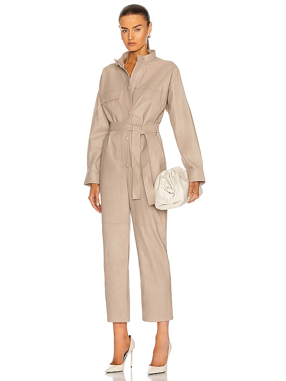Lamb Leather Jumpsuit in Sand